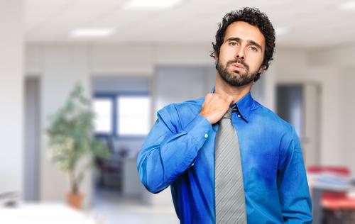 Sweating businessman