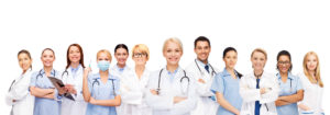 group of doctors and nurses and dentists