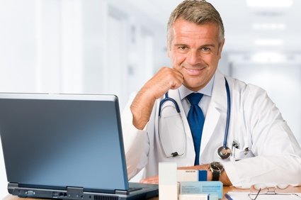 Doctor working in office